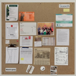 Staach Bulletin Board with B Corporation certification in pride of place